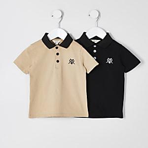 Mini - Zwarte RVR poloshirt tops voor jongens set van2