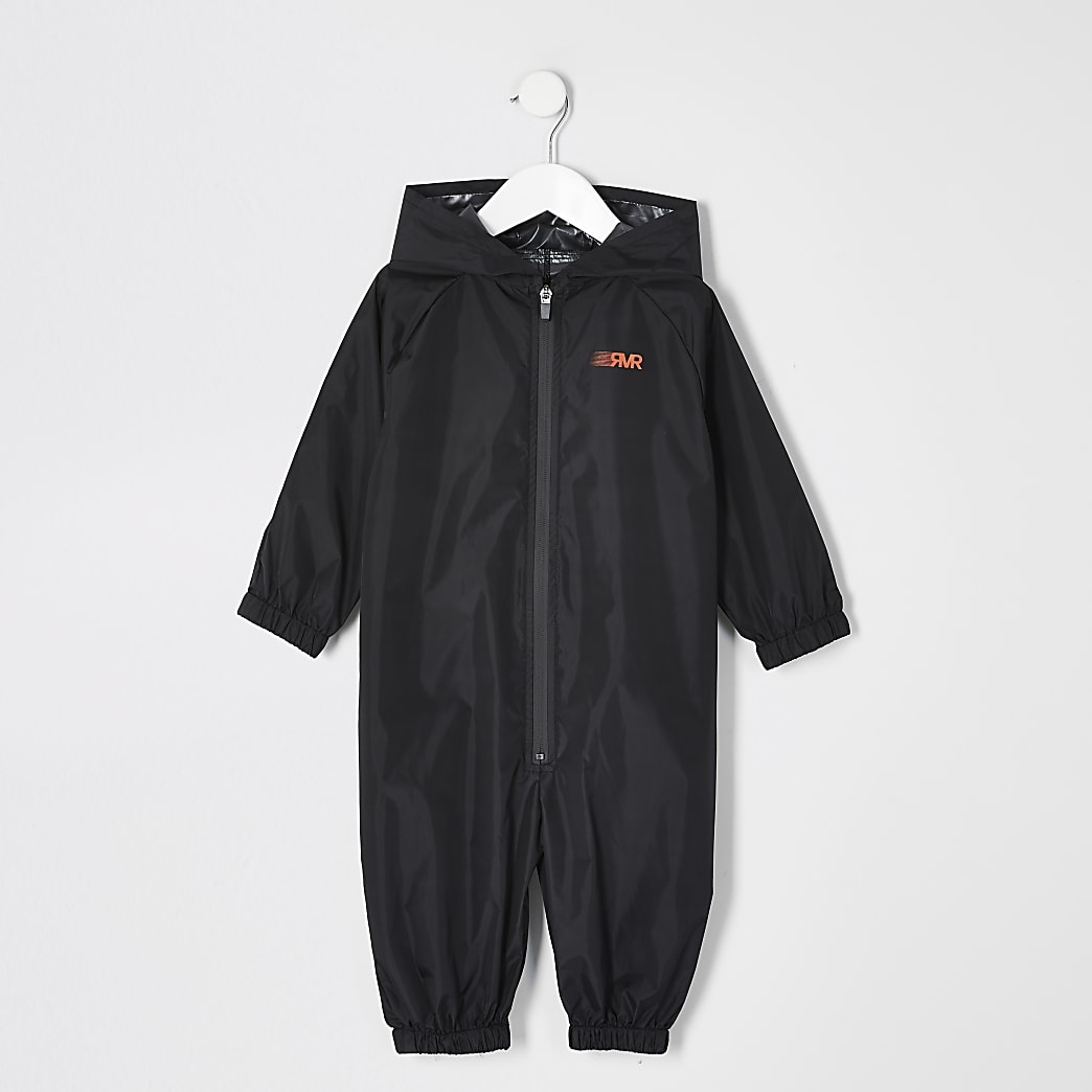 Mini boys black RVR puddlesuit