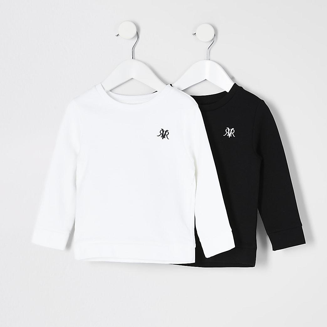 Mini - Set van 2 zwarte sweaters met RVR-print voor jongens