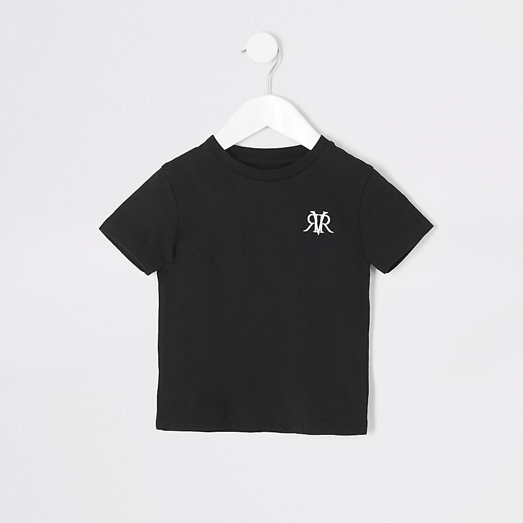 Mini - Zwart T-shirt met RVR-print voor jongens