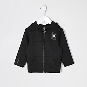 Mini - RI Active - Zwarte scuba hoodie met rits voor jongens