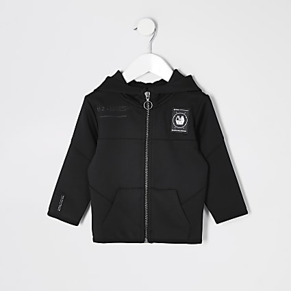 Mini boys black scuba RI Active zip hoodie