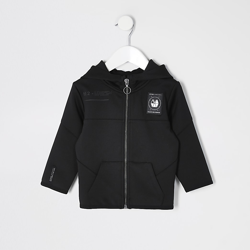 Mini boys black scuba RI Active zip up hoodie