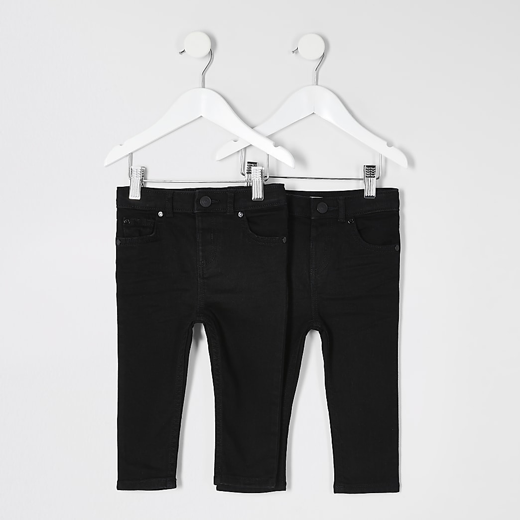 Mini boys black skinny jeans 2 pack