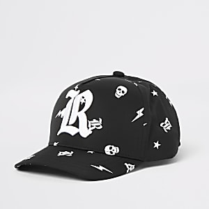 Mini boys black skull printed R hat