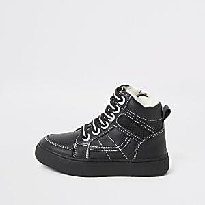 Mini - Zwarte hoge sneakers met stiksels voor jongens