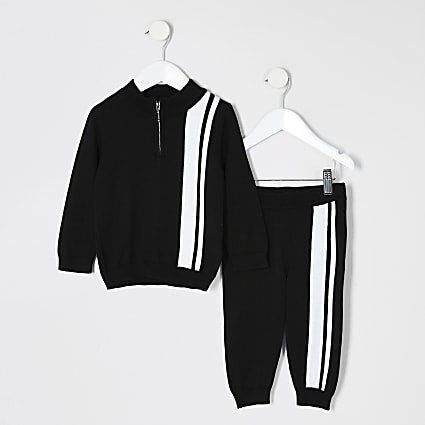 Mini boys black stripe knitted track outfit