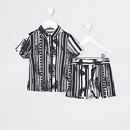 Mini boys black stripe leaf shirt outfit