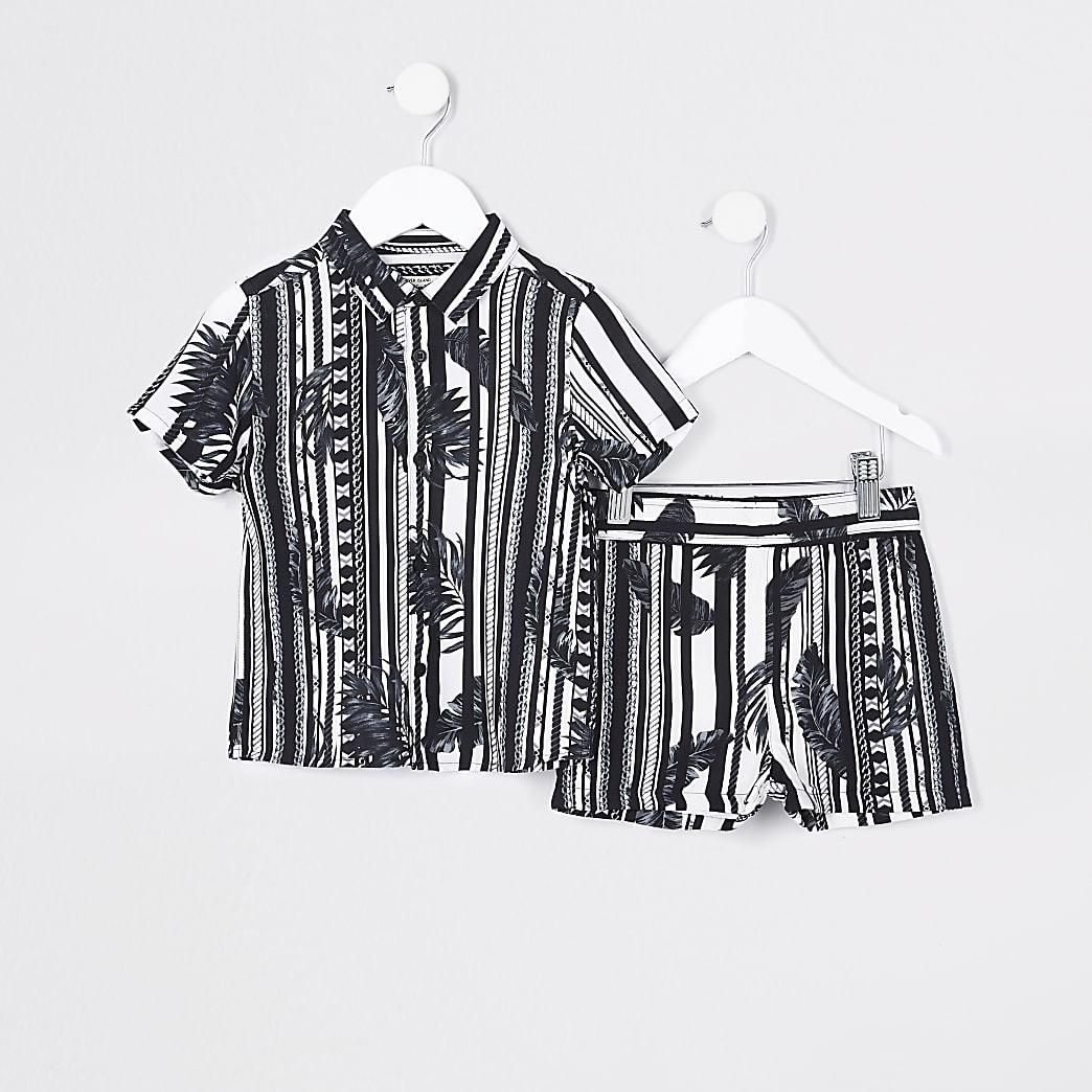 Mini boys black stripe leaf shirt outfit