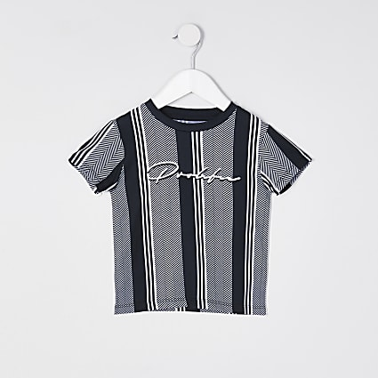 Mini boys black stripe t-shirt