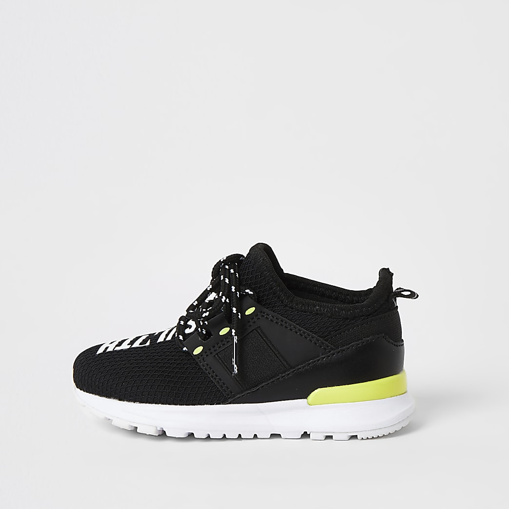 Mini boys black SVNTH mesh runner trainers