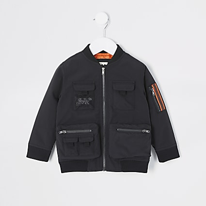 Mini boys black Svnth utility bomber jacket