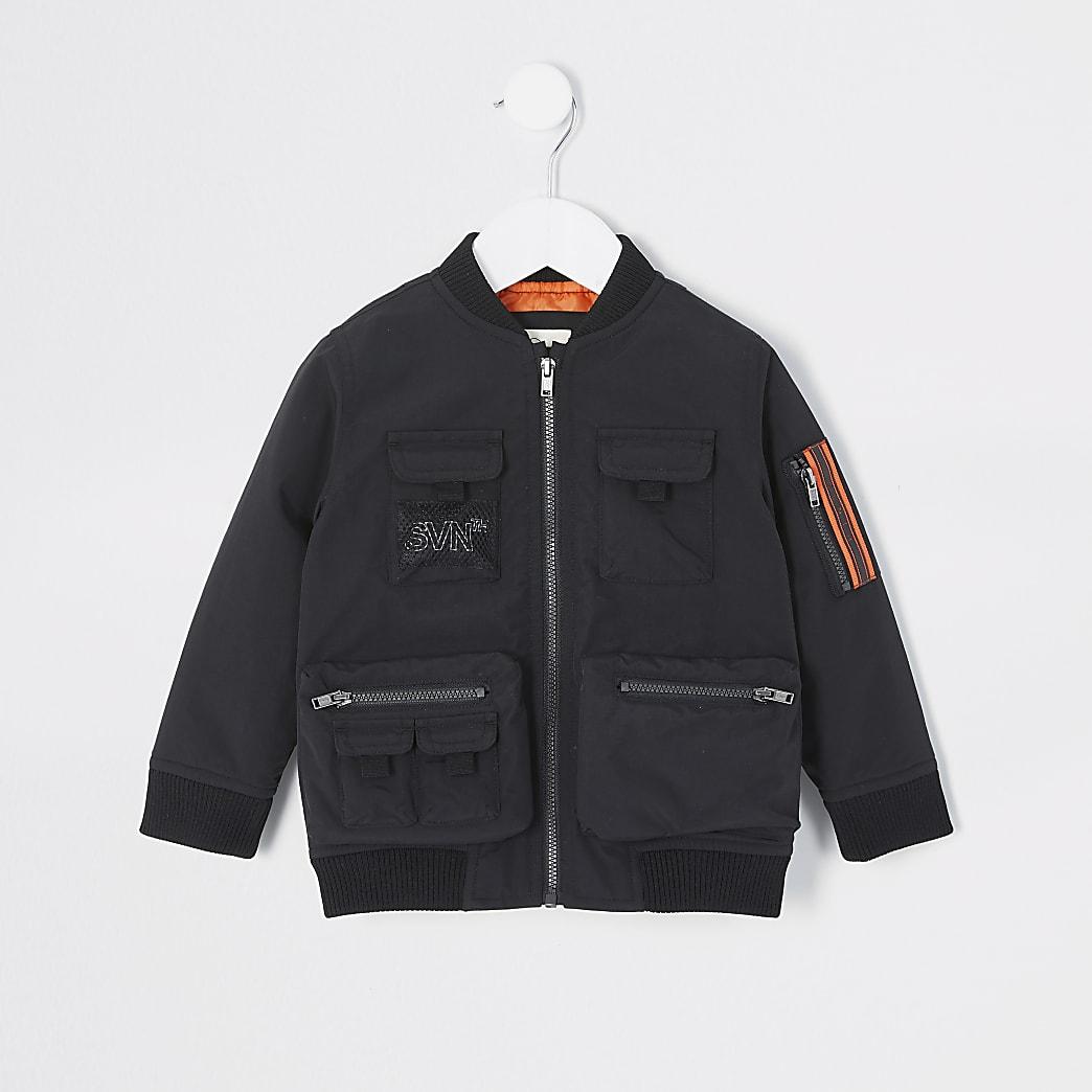 Mini - Svnth - Zwart utility bomberjack voor jongens