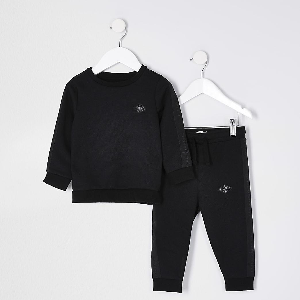 Mini Boys Black sweat and jogger set