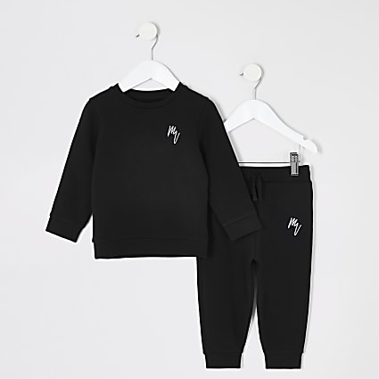 Mini boys black sweatshirt outfit
