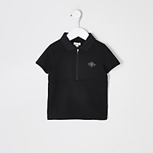 Mini boys black tape half zip polo shirt