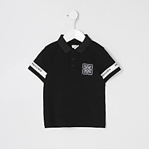 Mini – Schwarzes Poloshirt mit Ärmeltape für Jungen
