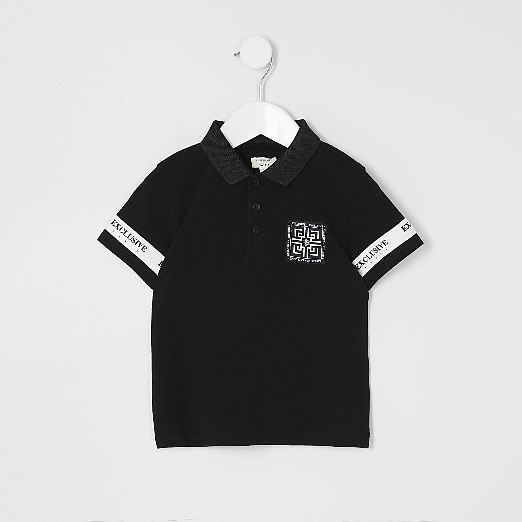 Mini boys black tape sleeve polo shirt