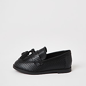 Mini Boys black textured tassel loafer
