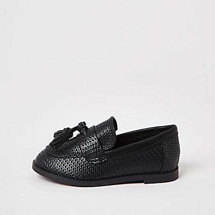 Mini Boys black textured tassel loafer