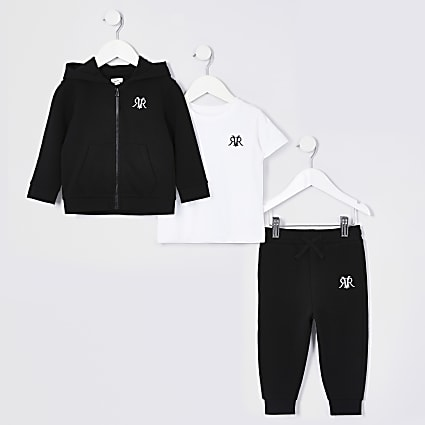 Mini boys black three piece tracksuit