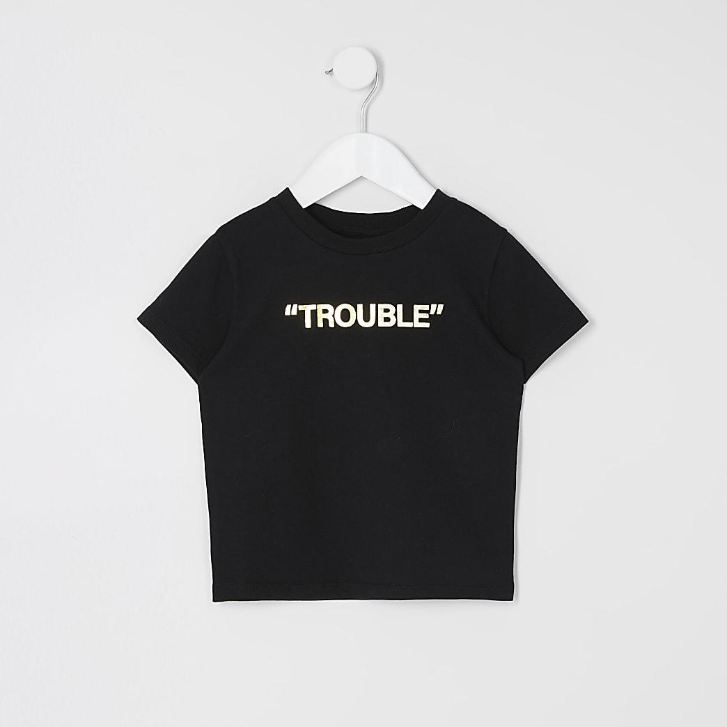 Mini boys black 'Trouble' foil print T-shirt