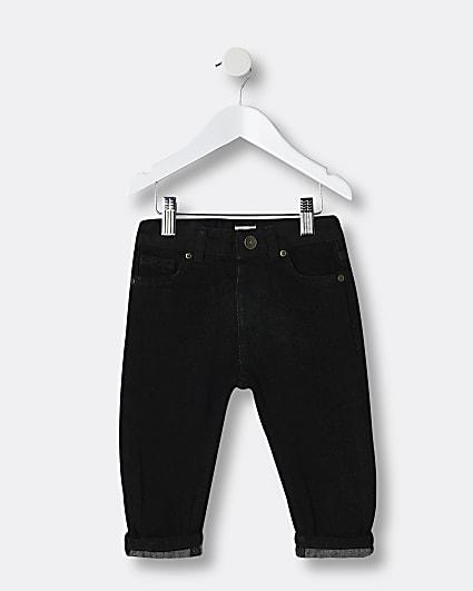Mini boys black turn up skinny jeans