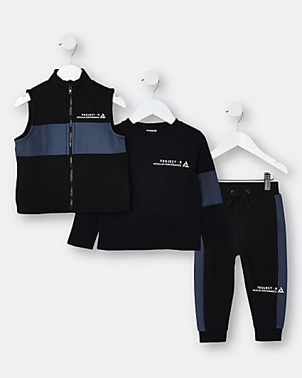 Mini boys black utility gilet outfit