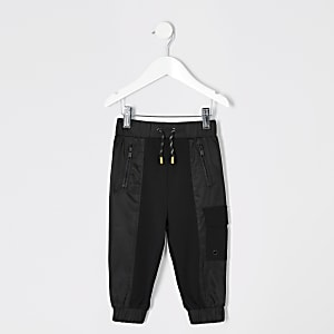 Mini boys black utility jogger