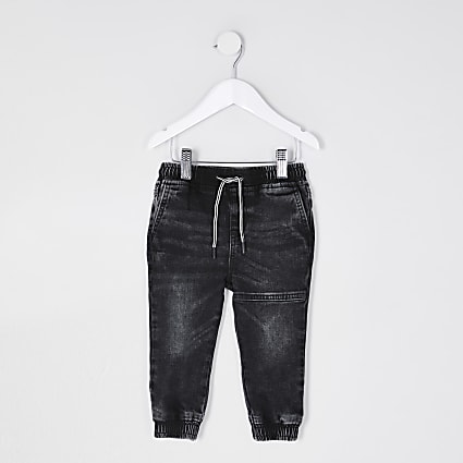 Mini boys black utility joggers