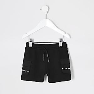 Mini– MCMLX – Schwarze Utility-Shorts mit Seitentaschen