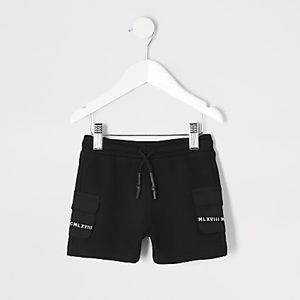 Mini boys black utility MCMLX pocket shorts