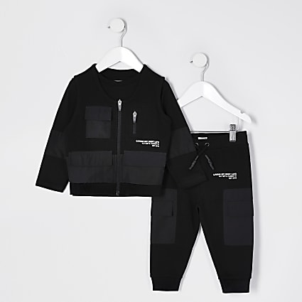 Mini boys black utility tracksuit and gilet