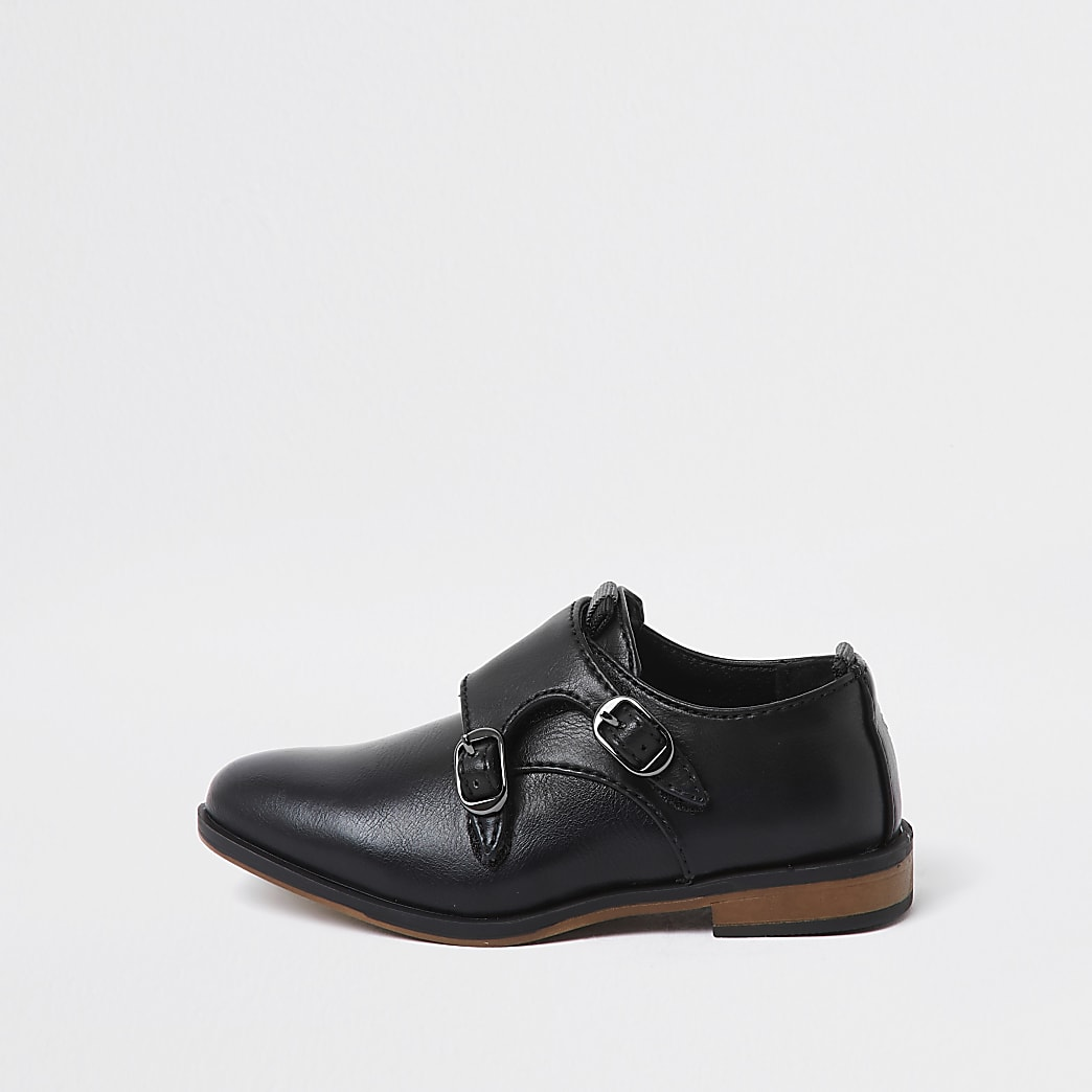 Mini boys black velcro monk strap shoe