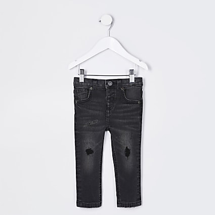 Mini boys black wash ripped skinny jeans
