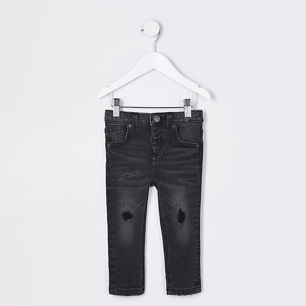 Mini boys black wash ripped skinny jeans