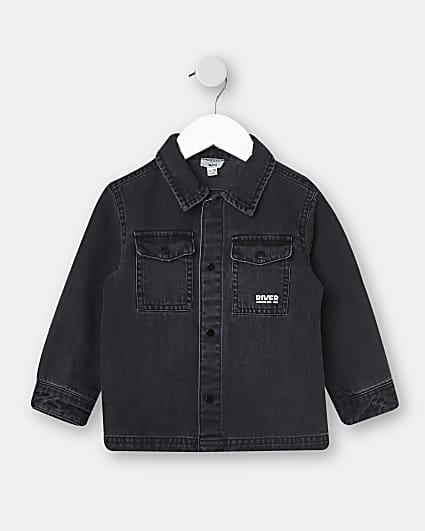Mini boys black washed denim shirt