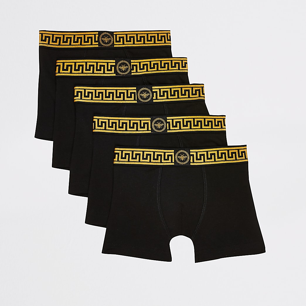Mini boys black wasp print boxers 5 pack