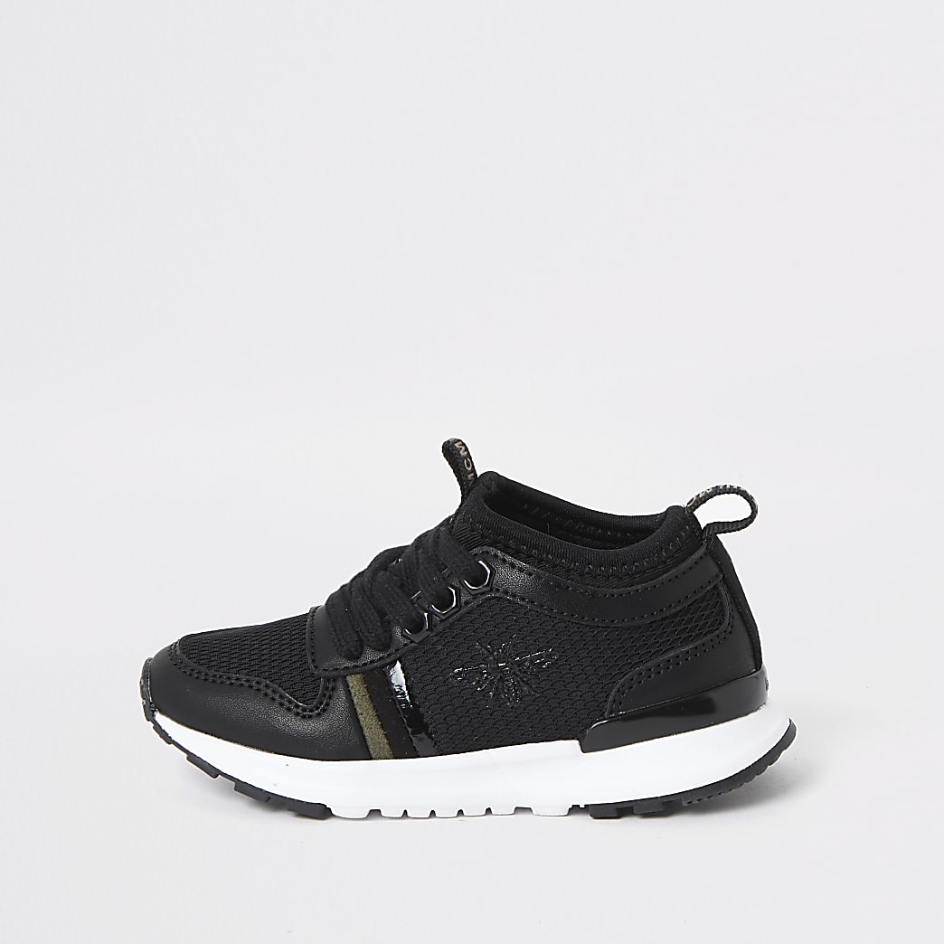 Mini boys black wasp runner trainers