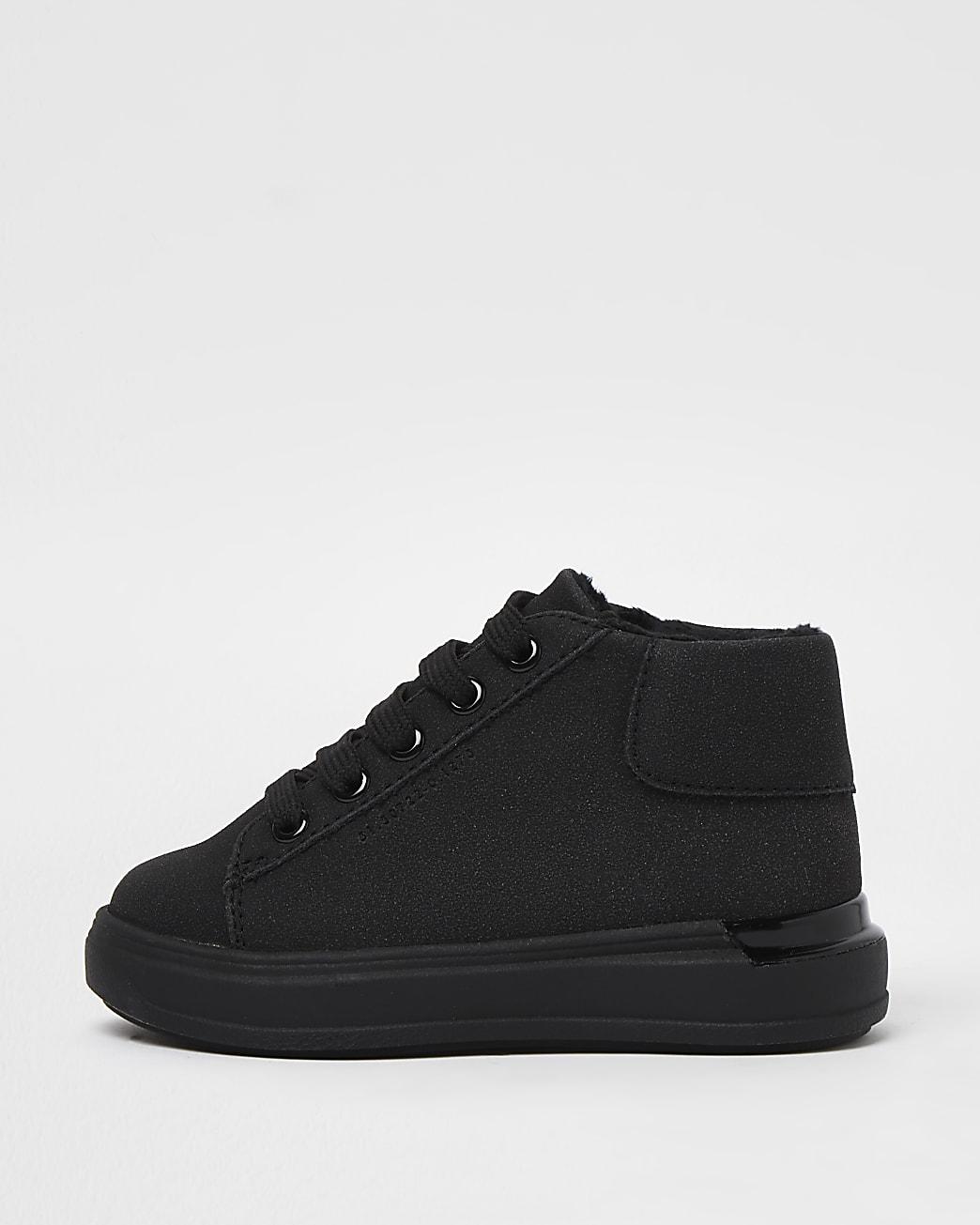 Mini boys black wedge heel lace up trainers