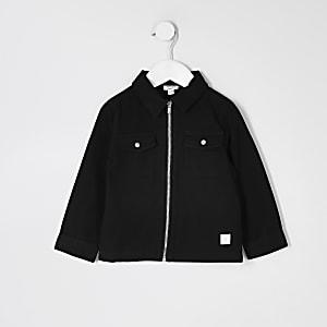 Mini – Schwarzes Twillüberhemd mit Reißverschluss