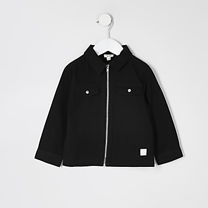 Mini boys black zip through twill overshirt