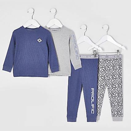 Mini boys blue  monogram snuggle pyjamas set