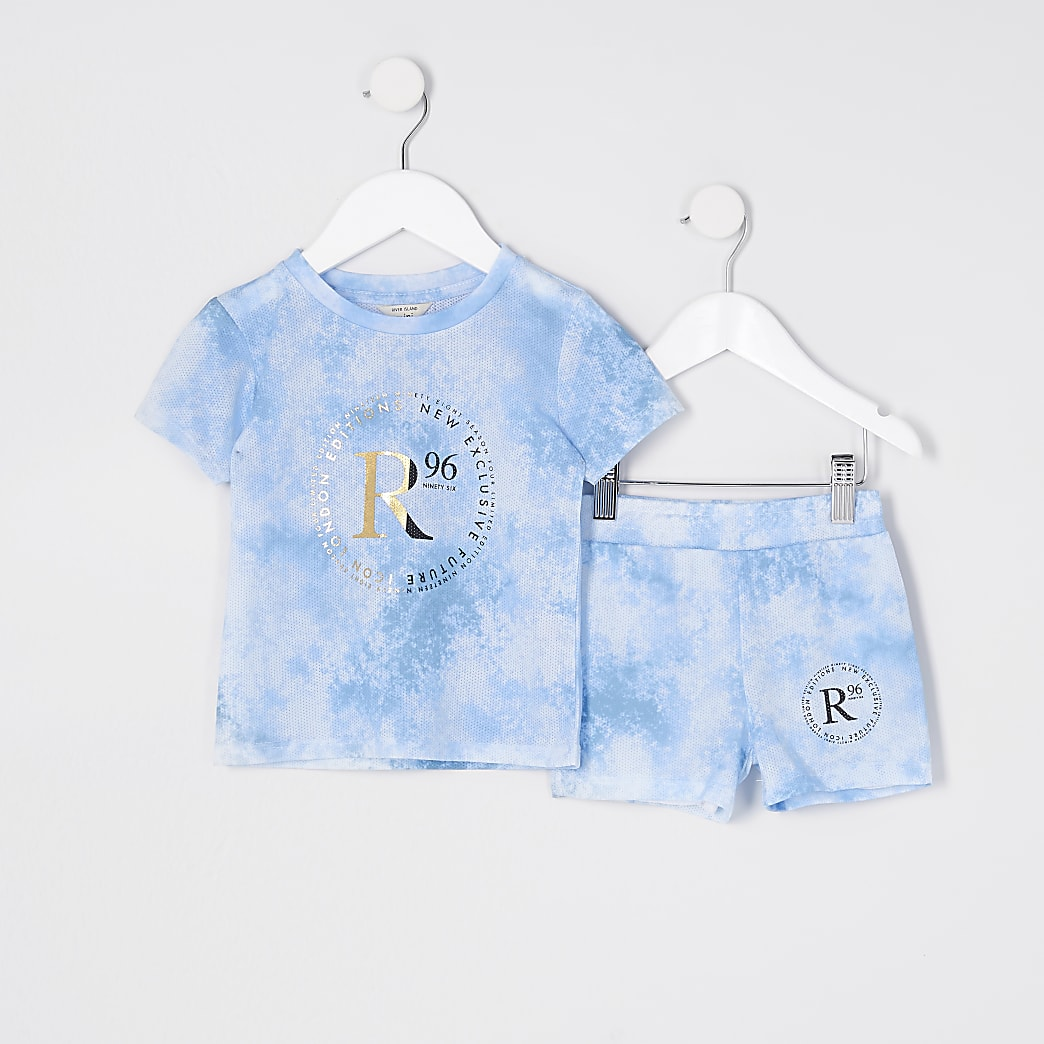 Mini boys blue  tie dye 'R96' outfit