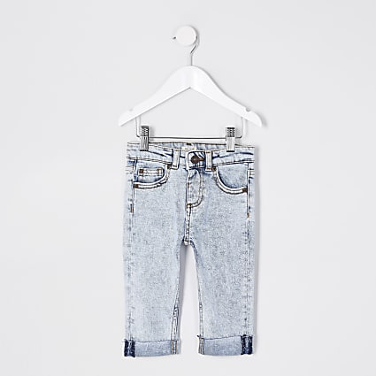 Mini boys blue acid wash turn up jeans