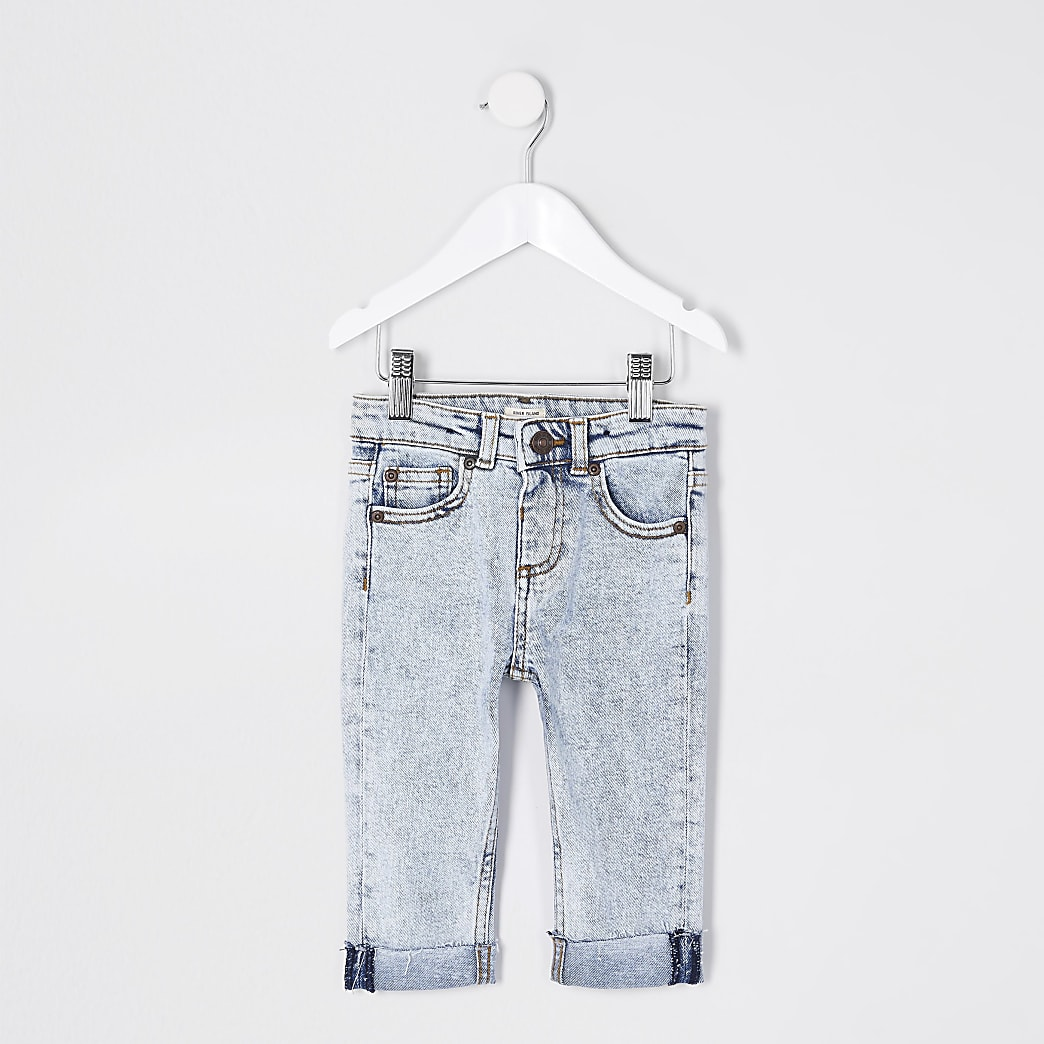 Mini boys blue acid wash turn up jeans