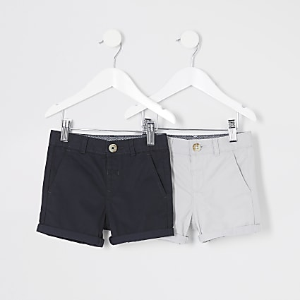 Mini boys blue and grey chino short multipack