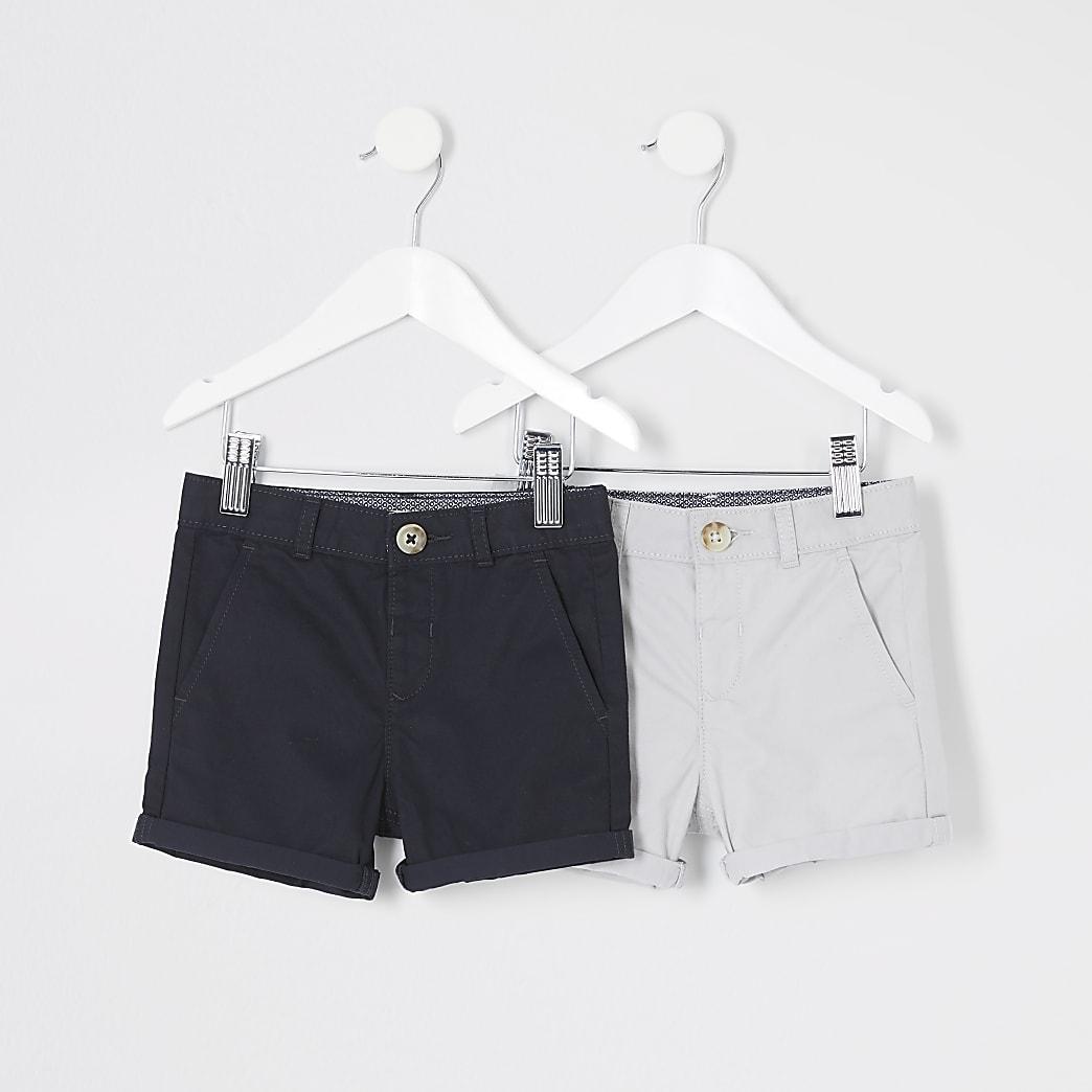 Mini - Blauwe en grijze chino short multipack voor jongens