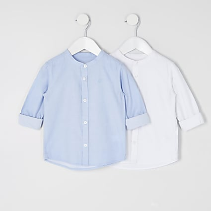 Mini boys blue and white grandad shirt 2 pack