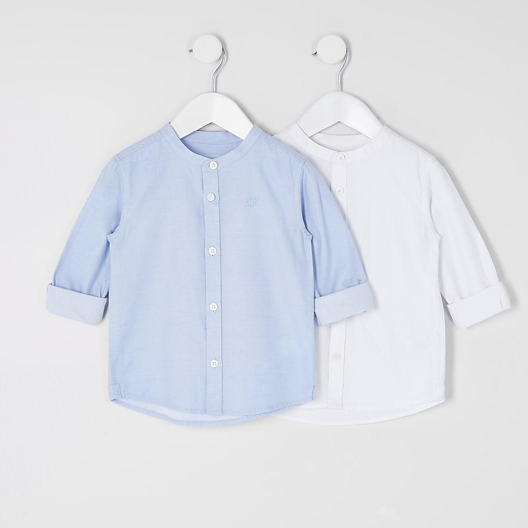 Mini - Set van 2 blauwe en witte overhemden zonder kraag voor jongens